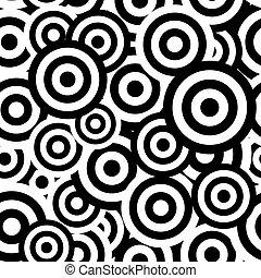 fekete-fehér, hipnotikus, seamless, motívum, háttér., vektor, ábra
