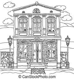 fekete, fehér, house., vector., ábra