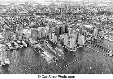 fekete-fehér, kilátás, közül, manhattan épület, új york város, -, usa