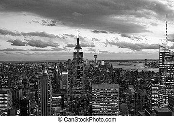fekete-fehér, kilátás, közül, manhattan, új york város