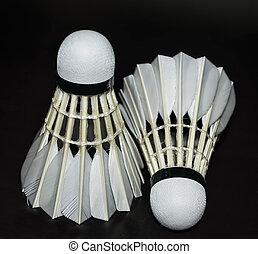 fekete, fehér, tollaslabda, elszigetelt