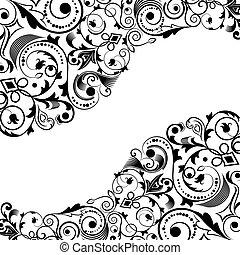 fekete-fehér, virágos, sarok, vektor, díszítés, noha, másol,...