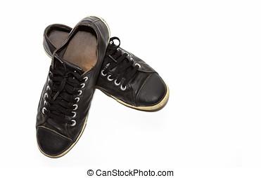 fekete, gumitalpú cipő, white, háttér.