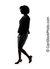 fekete, gyalogló, árnykép, üzletasszony