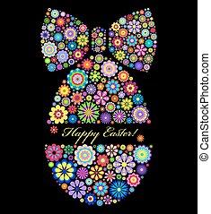 fekete, húsvét, háttér, színes, tojás