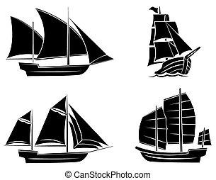 fekete, hajó, árnykép, gyűjtés