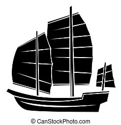 fekete, hajó, árnykép, jelkép