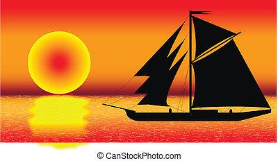 fekete, hajó, árnykép, napnyugta, tenger