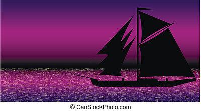 fekete, hajó, árnykép, tenger, éjszaka