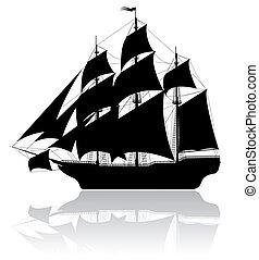 fekete, hajó, öreg