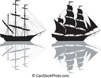 fekete, hajó, két
