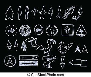 fekete, hand-drawn, állhatatos, nyílvesszö