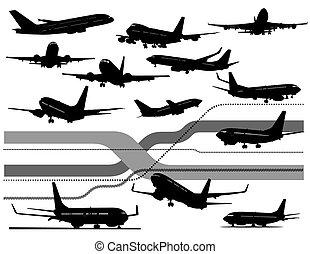 fekete, hat, repülőgép, fehér