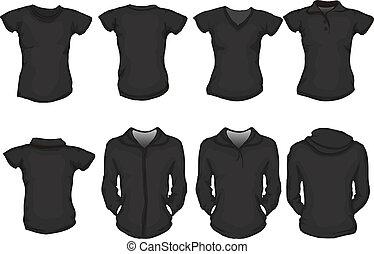 fekete, ing, női, sablon