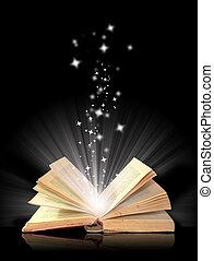 fekete, könyv, varázslatos, nyílik