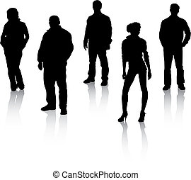 fekete, körvonal, emberek, reflexion.