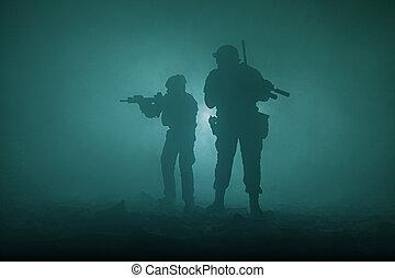 fekete, körvonal, közül, katona