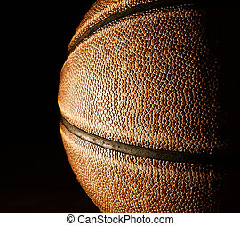 fekete, kosárlabda, closeup
