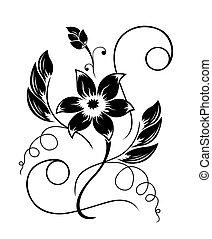 fekete, motívum, virág, fehér