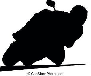 fekete, motorkerékpár, moto, körorvos, faj, superbike, bringás, sideline., ív, útvonal, biciklista, turn., biztonság