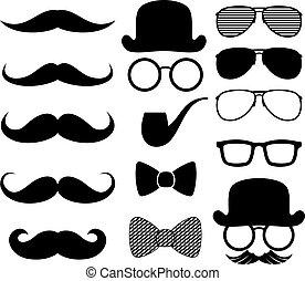 fekete, moustaches, körvonal