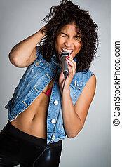 fekete, nő, éneklés