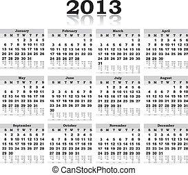 fekete, naptár, 2013, vektor, visszaverődés, fehér