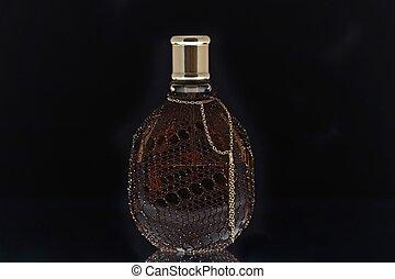 fekete, palack, háttér, illatszer