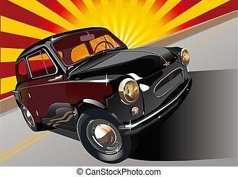 fekete, retro, autó