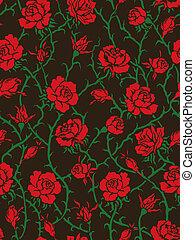 fekete, roses., seamless, motívum