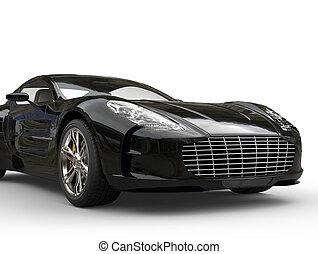fekete, sportkocsi, -, elülső, closeup, lövés
