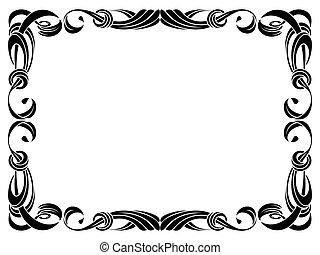fekete, szalag, keret, elszigetelt, white