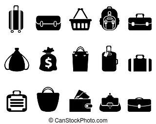 fekete, táska, ikonok, állhatatos