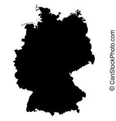 fekete, térkép, németország