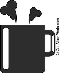 fekete tea, ikon, csésze, vektor