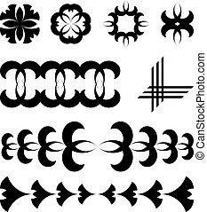 fekete, vektor, tervezés elem, tetovál