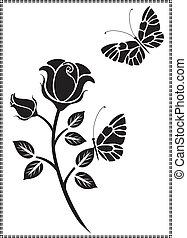 fekete, vektor, tervezés, virág