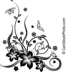 fekete, virágos, sarok, tervezés, nagyszerű