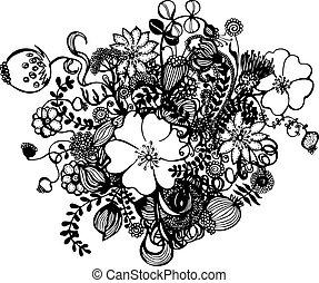 fekete, white virág