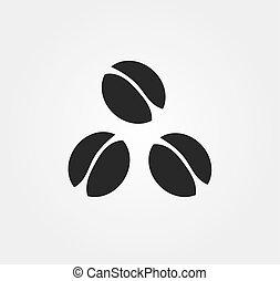 feketekávé, bab, három, icon.