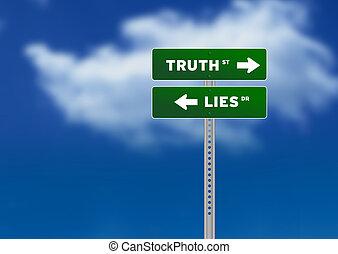 fekszik, igazság, út cégtábla