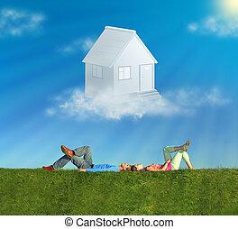 fekvő, párosít, képben látható, fű, és, álmodik épület, kollázs