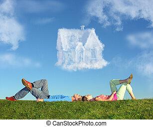 fekvő, párosít, képben látható, fű, és, álmodik épület,...