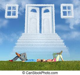 fekvő, párosít, képben látható, fű, és, álmodik, ajtó, irány, kollázs