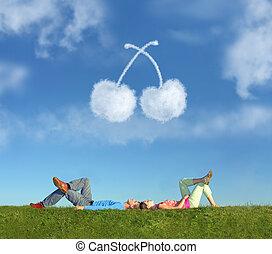 fekvő, párosít, képben látható, fű, és, álmodik, cseresznye, kollázs