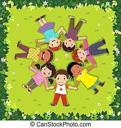 fekvő, tető kilátás, gyerekek, fű, karika