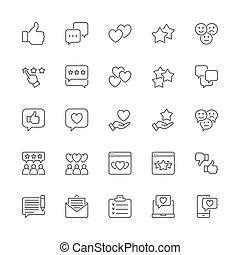 feláll, állhatatos, visszacsatolás, szeret, sms, lapozgat, icons., nem szeret, piros, egyenes, more., csevegés