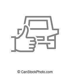 feláll, jelkép, egyenes, autó, lapozgat, szállítás, legjobb, szeret, icon., visszacsatolás, szolgáltatás, taxi