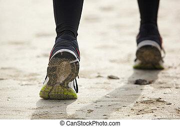 feláll, lábak, futás, női, becsuk, hátsó kilátás