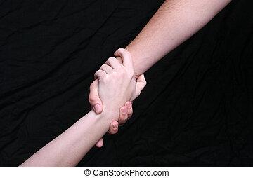 feláll, mentoring, kéz
